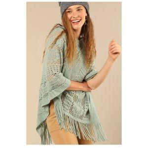 Soft Crochet Knit Poncho Tassel Fringe Accent